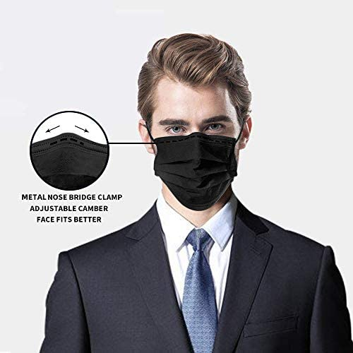 4178o5GrO3L. AC  - Disposable Face Masks,50Pcs 3 Layer Disposable Masks Black Face Mask with Elastic Ear Loop, Face Masks Breathable Non-woven Masks, Fashion Face Covering for home, office, outdoor