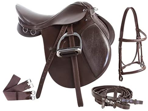 418JUAw1ZAL. AC  - Acerugs Premium Eventing Brown Leather Show Jumping English Horse Saddle TACK Set