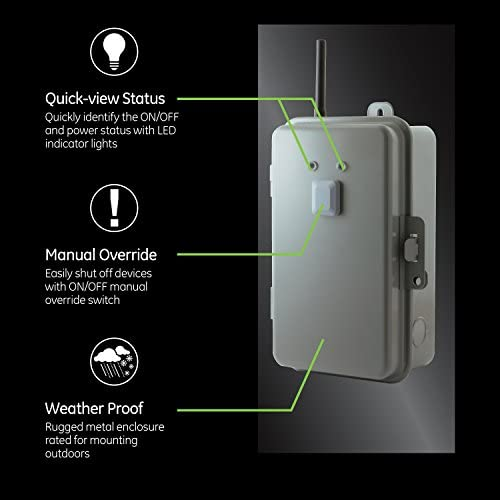 41Ais69mj4L. AC  - GE Z-Wave Plus 40-Amp Indoor/Outdoor Metal Box Smart Switch, Direct Wire, 120-277VAC, for Pools, Pumps, Patio Lights, AC Units, Electric Water Heaters, 14285