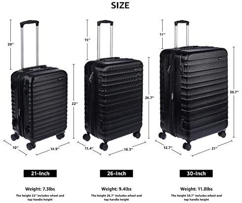 41BusXl AJL. AC  - AmazonBasics Hardside Carry-On Spinner Suitcase Luggage - Expandable with Wheels - 21 Inch, Black