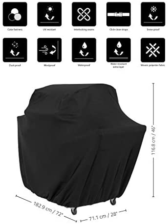 41CyjT2uOsL. AC  - AmazonBasics Gas Grill Barbecue Cover, 72 inch / XL, Black