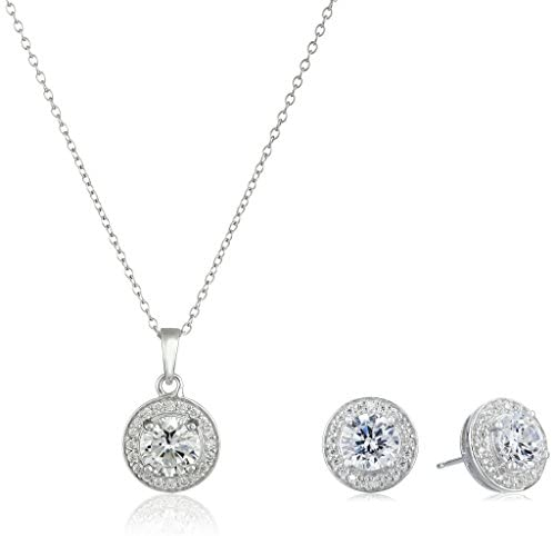41GjJSxIf1L. AC  - Amazon Collection Sterling Silver Cubic Zirconia Halo Pendant Necklace and Stud Earrings Jewelry Set