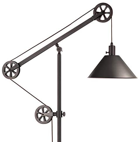 41IPY8gnElL. AC  - Henn&Hart FL0022 Modern Industrial Pulley System Contemporary Blackened Bronze with Metal Shade for Living Room, Office, Study Or Bedroom Floor Lamp, One Size, Black