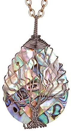 41OivSrfRwL. AC  - sedmart Tear Drop Abalone Shell Pendent Necklace Wire Wrap Abalone Shell Tree of Life Pendant Necklace Fashion Necklace Jewelry for Women Handmade Necklace Mothers Day Necklace for mom Jewelry