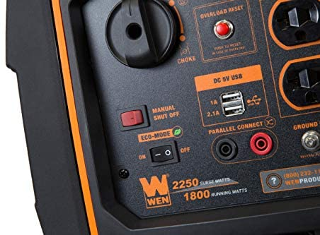 41R6uv12YoL. AC  - WEN 56225i 2250-Watt Gas Powered Portable Inverter Generator with Fuel Shut-Off, CARB Compliant