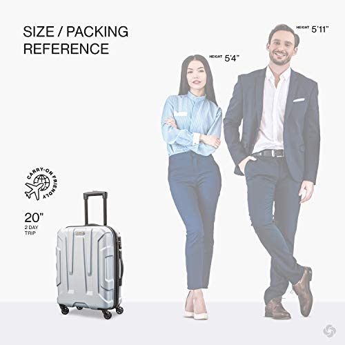 41RpnOFYQ7L. AC  - Samsonite Centric Hardside Expandable Luggage with Spinner Wheels, Silver, Carry-On 20-Inch