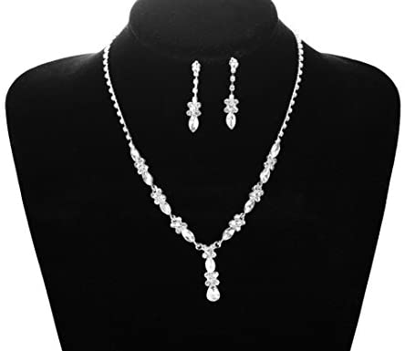 41cxySPGi+L. AC  - Udalyn Rhinestone Bridesmaid Jewelry Sets for Women Necklace and Earring Set for Wedding with Crystal Bracelet