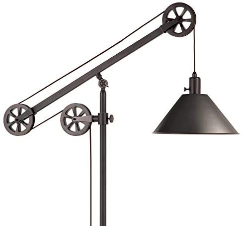 41g9Uq35rCL. AC  - Henn&Hart FL0022 Modern Industrial Pulley System Contemporary Blackened Bronze with Metal Shade for Living Room, Office, Study Or Bedroom Floor Lamp, One Size, Black