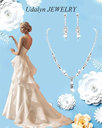 41icW4jLRCL. AC  - Udalyn Rhinestone Bridesmaid Jewelry Sets for Women Necklace and Earring Set for Wedding with Crystal Bracelet