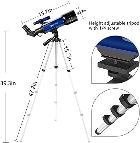 41wtchyd+UL. AC  - Telescope for Kids Beginners Adults, 70mm Astronomy Refractor Telescope with Adjustable Tripod - Perfect Telescope Gift for Kids