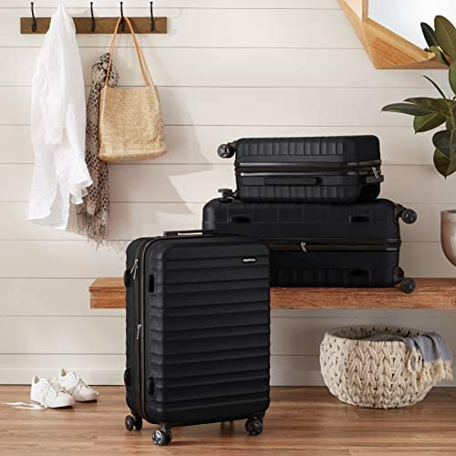 5109MuUGQ2L. AC  - AmazonBasics Hardside Carry-On Spinner Suitcase Luggage - Expandable with Wheels - 21 Inch, Black