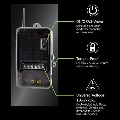 514WZ+ni0gL. AC  - GE Z-Wave Plus 40-Amp Indoor/Outdoor Metal Box Smart Switch, Direct Wire, 120-277VAC, for Pools, Pumps, Patio Lights, AC Units, Electric Water Heaters, 14285
