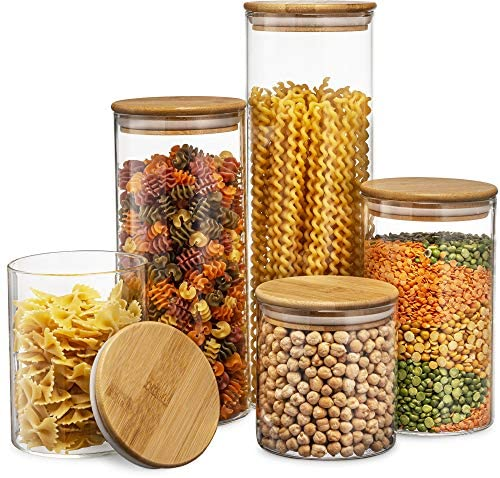 5191wt28lnL. AC  - Canister Set of 5, Glass Kitchen Canisters with Airtight Bamboo Lid, Glass Storage Jars for Kitchen, Bathroom and Pantry Organization Ideal for Flour, Sugar, Coffee, Cookie Jar, Candy, Snack and More