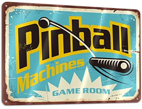 51FeFcxT79L. AC  - Bargburm Pinball Machines Game Room Funny Sign Tin Art Wall Decor, Vintage Aluminum Retro Metal Sign, Iron Painting Vintage Decorative Signs, Coffe Wall Decoration