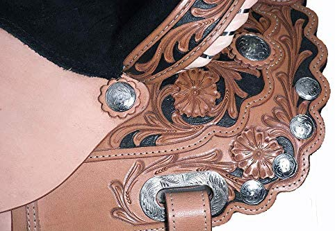 """51LRb9PpoVL. AC  - Y&Z Enterprises Premium Leather Western Barrel Racing Horse Saddle Tack Size 14"""" to 18"""" Inches Seat Available Get Matching Leather Headstall, Breast Collar, Reins"""