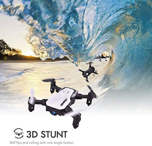 51MXIuTjY1L. AC  - SIMREX X300C Mini Drone RC Quadcopter Foldable Altitude Hold Headless RTF 360 Degree FPV Video WiFi 720P HD Camera 6-Axis Gyro 4CH 2.4Ghz Remote Control Super Easy Fly for Training(White)