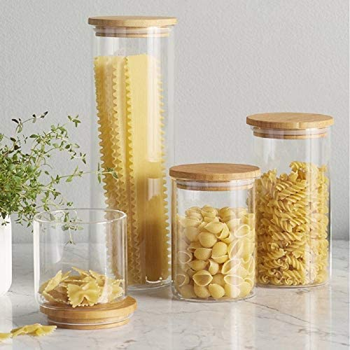 51PTfXIdLAL. AC  - Canister Set of 5, Glass Kitchen Canisters with Airtight Bamboo Lid, Glass Storage Jars for Kitchen, Bathroom and Pantry Organization Ideal for Flour, Sugar, Coffee, Cookie Jar, Candy, Snack and More