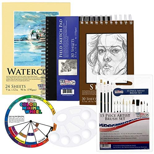 51QI6by0z+L. AC  - US Art Supply 20 Piece Artist Drawing, Sketch and Painting - Paper and Brush Accessory Pack