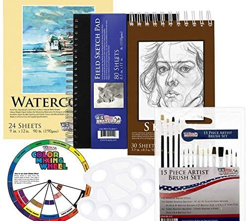 51QI6by0zL. AC  498x445 - US Art Supply 20 Piece Artist Drawing, Sketch and Painting - Paper and Brush Accessory Pack