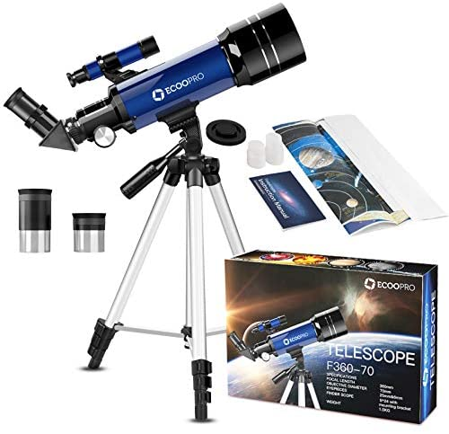 51ShVxK7KyL. AC  - Telescope for Kids Beginners Adults, 70mm Astronomy Refractor Telescope with Adjustable Tripod - Perfect Telescope Gift for Kids