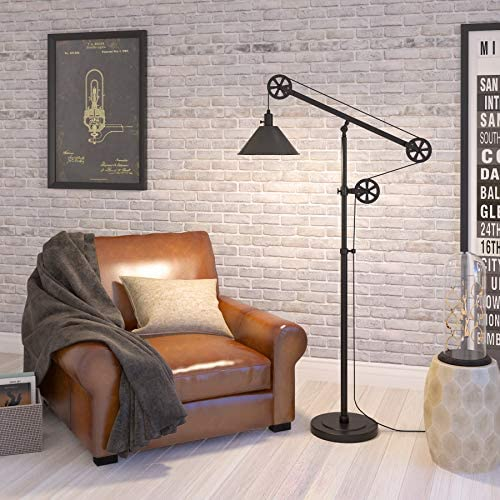 51c55pAgSHL. AC  - Henn&Hart FL0022 Modern Industrial Pulley System Contemporary Blackened Bronze with Metal Shade for Living Room, Office, Study Or Bedroom Floor Lamp, One Size, Black