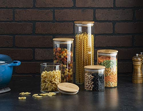 51g9yRRv69L. AC  - Canister Set of 5, Glass Kitchen Canisters with Airtight Bamboo Lid, Glass Storage Jars for Kitchen, Bathroom and Pantry Organization Ideal for Flour, Sugar, Coffee, Cookie Jar, Candy, Snack and More