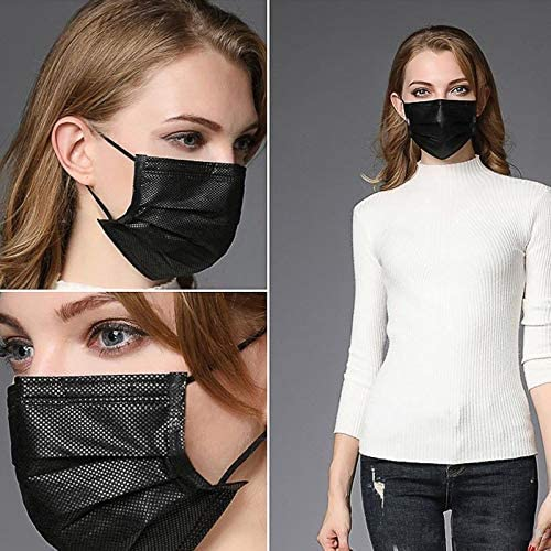51gkjnODSBL. AC  - Disposable Face Masks,50Pcs 3 Layer Disposable Masks Black Face Mask with Elastic Ear Loop, Face Masks Breathable Non-woven Masks, Fashion Face Covering for home, office, outdoor