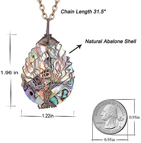 51kiDjBrGDL. AC  - sedmart Tear Drop Abalone Shell Pendent Necklace Wire Wrap Abalone Shell Tree of Life Pendant Necklace Fashion Necklace Jewelry for Women Handmade Necklace Mothers Day Necklace for mom Jewelry