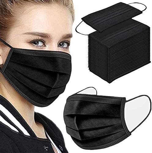 51nKRMSP+UL. AC  - Disposable Face Masks,50Pcs 3 Layer Disposable Masks Black Face Mask with Elastic Ear Loop, Face Masks Breathable Non-woven Masks, Fashion Face Covering for home, office, outdoor