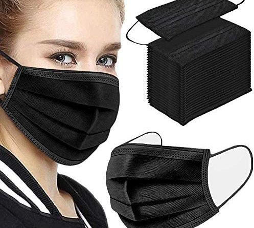 51nKRMSPUL. AC  497x445 - Disposable Face Masks,50Pcs 3 Layer Disposable Masks Black Face Mask with Elastic Ear Loop, Face Masks Breathable Non-woven Masks, Fashion Face Covering for home, office, outdoor