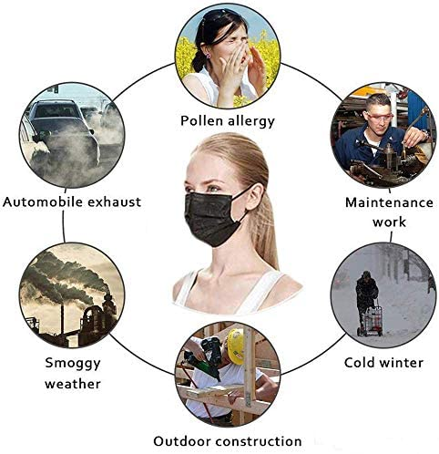 51o77BACZXL. AC  - Disposable Face Masks,50Pcs 3 Layer Disposable Masks Black Face Mask with Elastic Ear Loop, Face Masks Breathable Non-woven Masks, Fashion Face Covering for home, office, outdoor