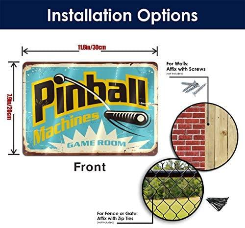 51uSNwW04WL. AC  - Bargburm Pinball Machines Game Room Funny Sign Tin Art Wall Decor, Vintage Aluminum Retro Metal Sign, Iron Painting Vintage Decorative Signs, Coffe Wall Decoration