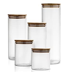 72332080 68db 454b a626 d1ca9dd7e2d1.  CR394,198,1975,1975 PT0 SX300 V1    - Canister Set of 5, Glass Kitchen Canisters with Airtight Bamboo Lid, Glass Storage Jars for Kitchen, Bathroom and Pantry Organization Ideal for Flour, Sugar, Coffee, Cookie Jar, Candy, Snack and More