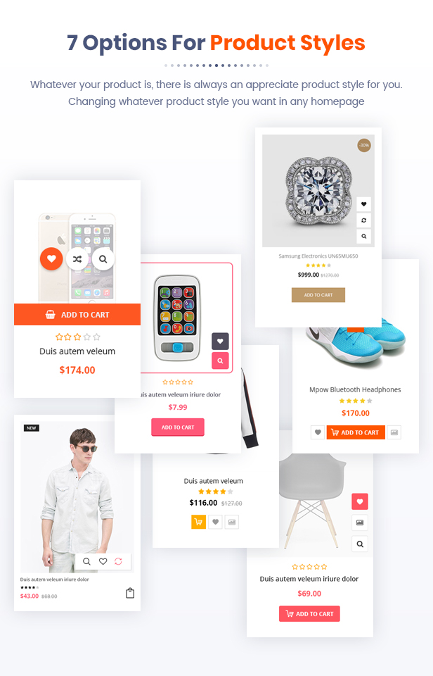 7 Options Product Hover Styles - Market - Premium Responsive Magento 2 and 1.9 Store Theme with Mobile-Specific Layout (23 HomePages)