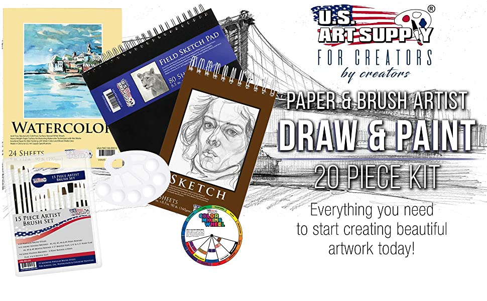 7f68b60b 5d30 4f6a a98f 51859a03faeb.  CR0,0,1940,1200 PT0 SX970 V1    - US Art Supply 20 Piece Artist Drawing, Sketch and Painting - Paper and Brush Accessory Pack
