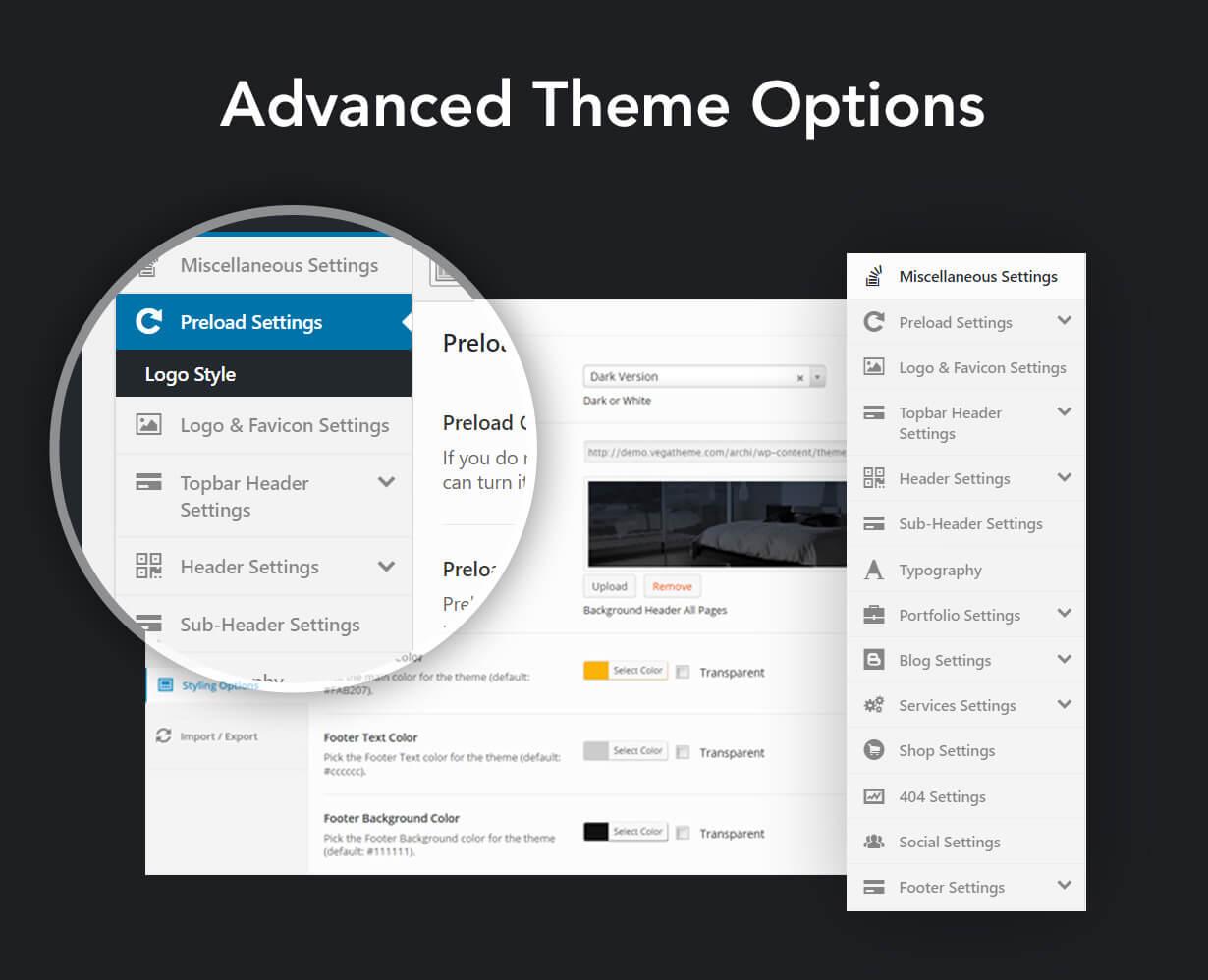 archi advanced options - Archi - Interior Design WordPress Theme