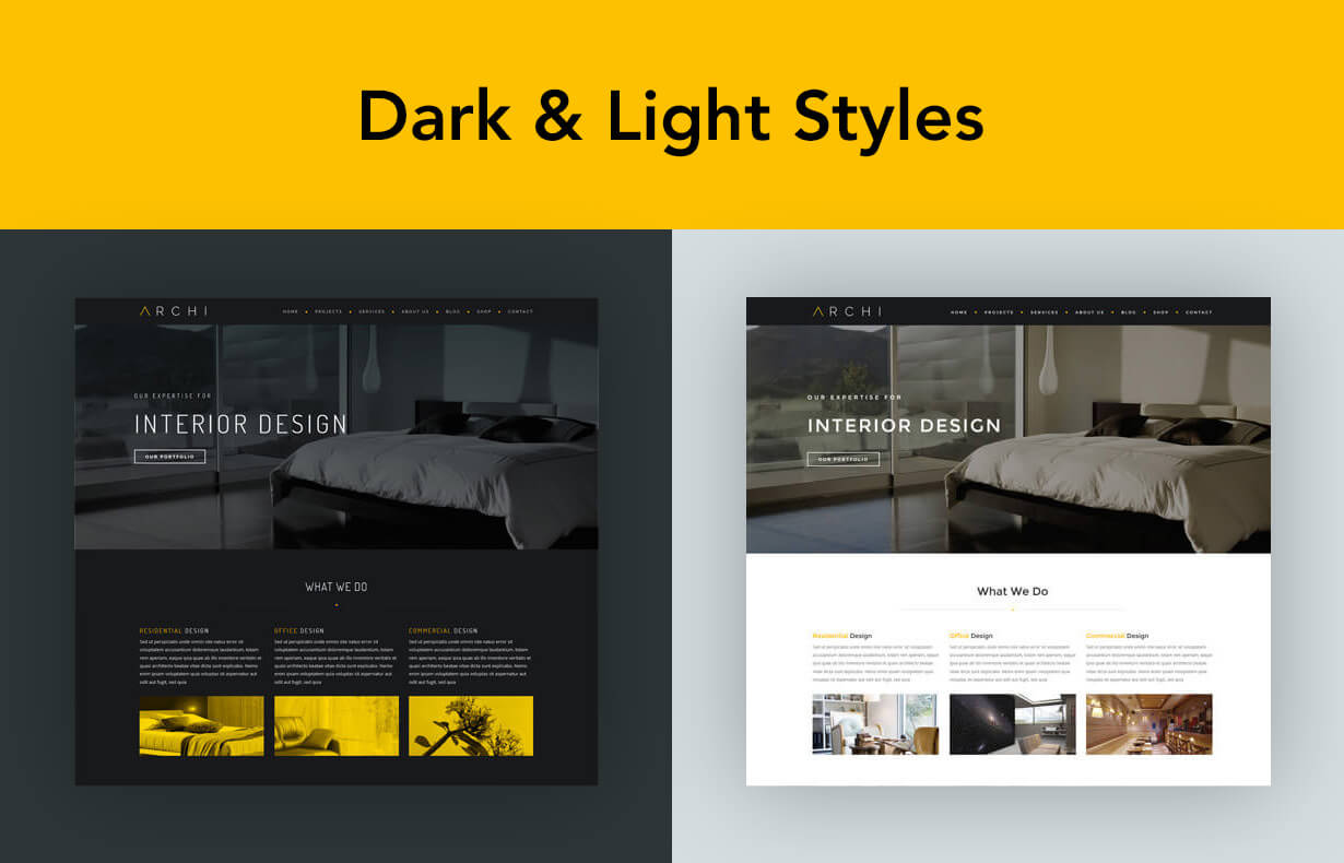 archi dark light - Archi - Interior Design WordPress Theme