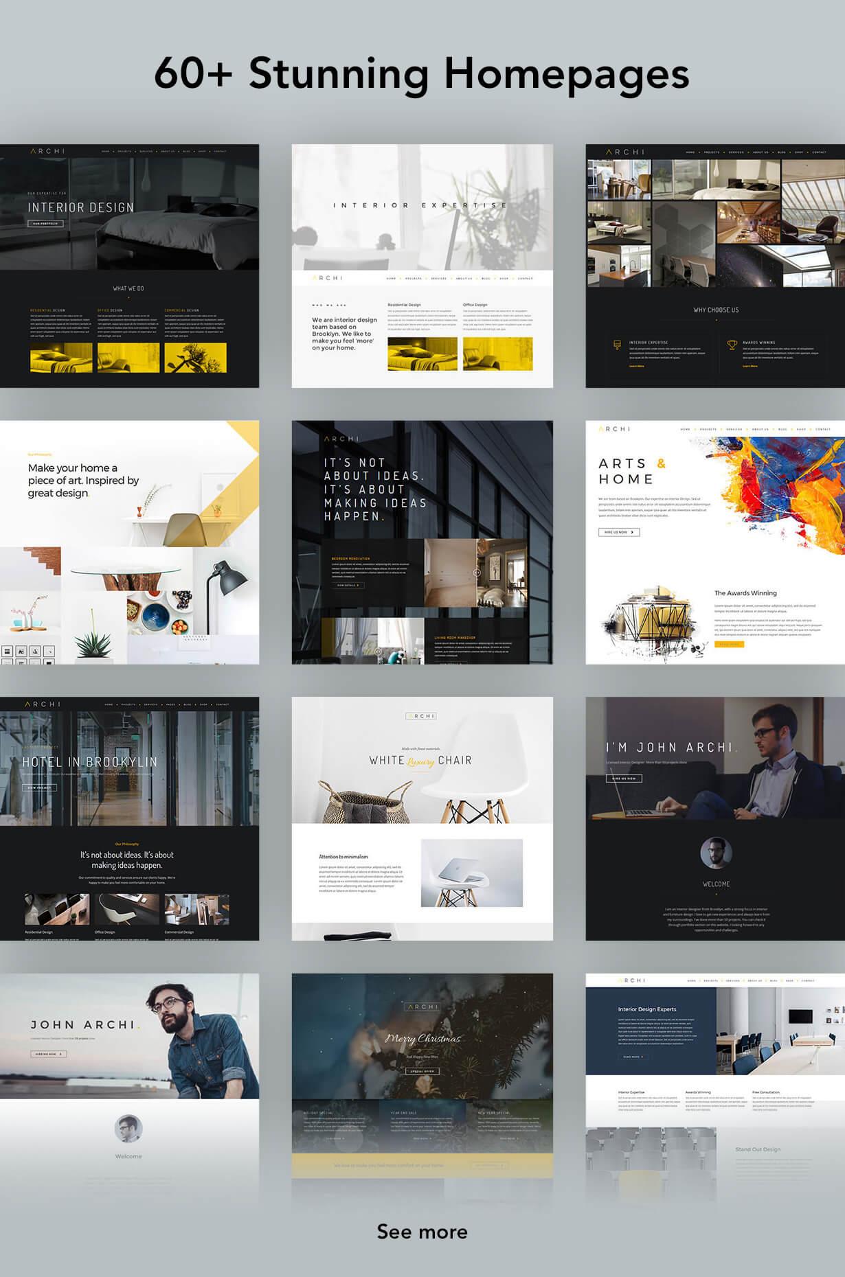 archi homepages - Archi - Interior Design WordPress Theme