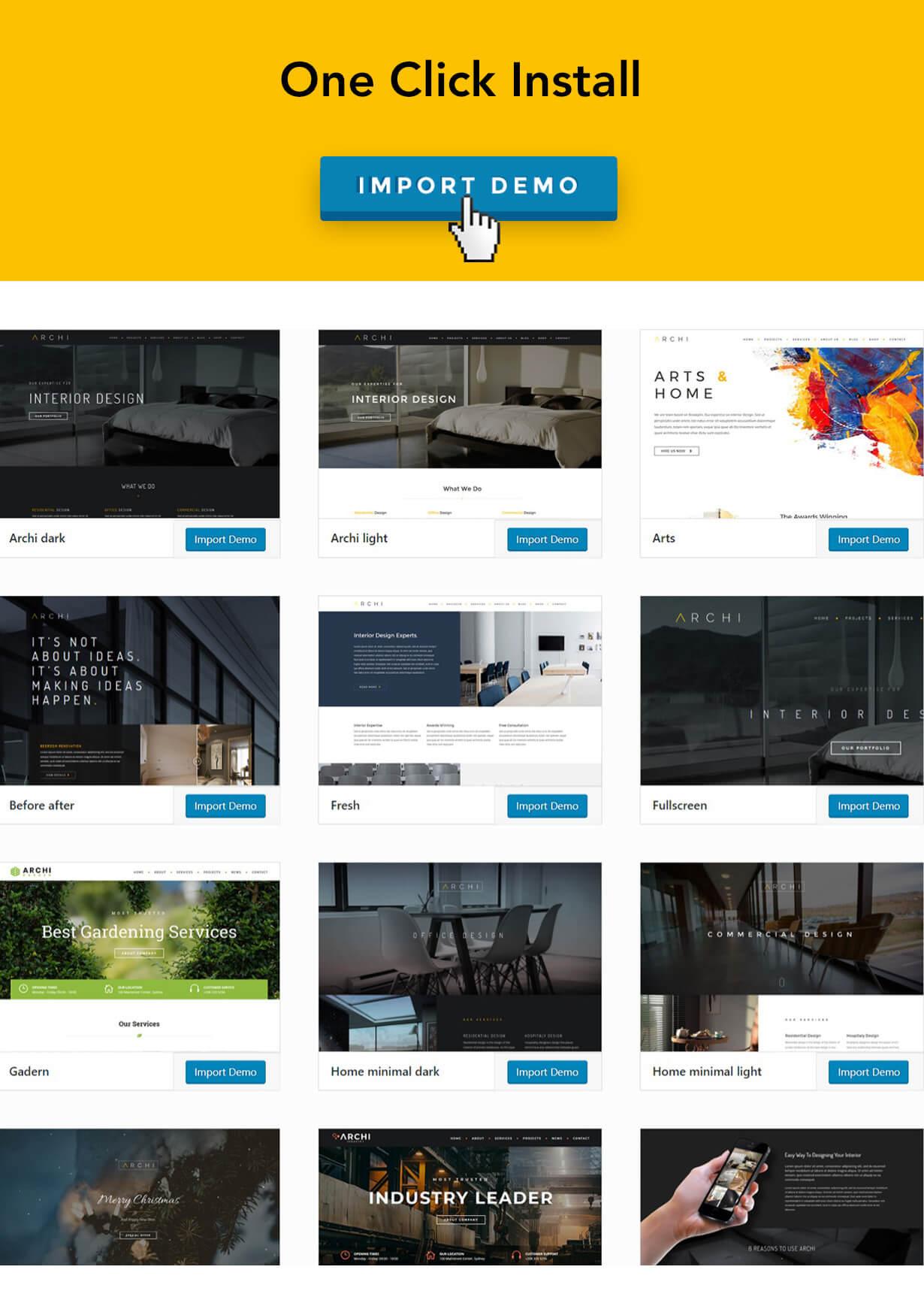 archi one click install - Archi - Interior Design WordPress Theme