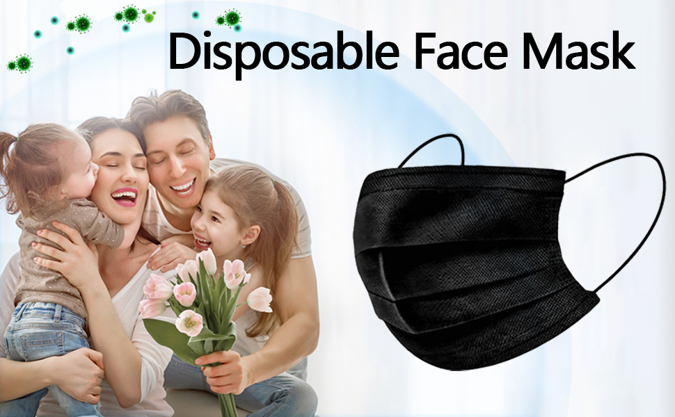 c0a761c1 0813 401d ac00 687b50108055.  CR0,0,970,600 PT0 SX970 V1    - Disposable Face Masks,50Pcs 3 Layer Disposable Masks Black Face Mask with Elastic Ear Loop, Face Masks Breathable Non-woven Masks, Fashion Face Covering for home, office, outdoor