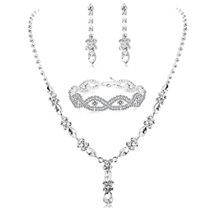 d21920d6 2f1e 47b3 98c3 bb5d0f82658e.  CR5,0,990,990 PT0 SX300 V1    - Udalyn Rhinestone Bridesmaid Jewelry Sets for Women Necklace and Earring Set for Wedding with Crystal Bracelet