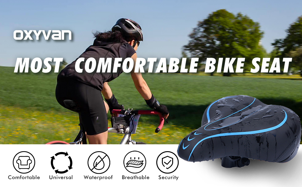 d4a814cf b67a 46b9 b6dc a605f749db72.  CR0,0,970,600 PT0 SX970 V1    - OXYVAN Bike Seat Most Comfortable Universal Replacement Bicycle Seat Cushion Dual Shock Absorbing Ball Wide Bicycle Saddle for Men Women