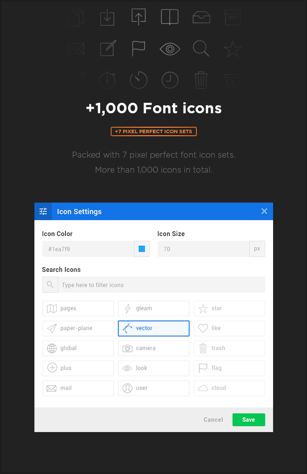 font icon - MEGAPACK – Marketing HTML Landing Pages Pack + PixFort Page Builder Access
