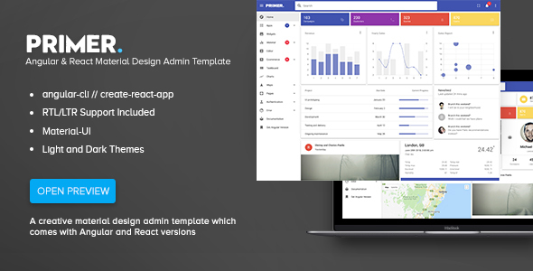 primer review.  large preview - Primer - Angular & React Material Design Admin Template