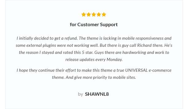 review 1 - Nitro - Universal WooCommerce Theme from ecommerce experts