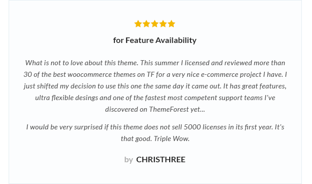 review 3 - Nitro - Universal WooCommerce Theme from ecommerce experts
