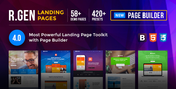 00 preview banner.  large preview - RGen | HTML Landing Pages with Builder