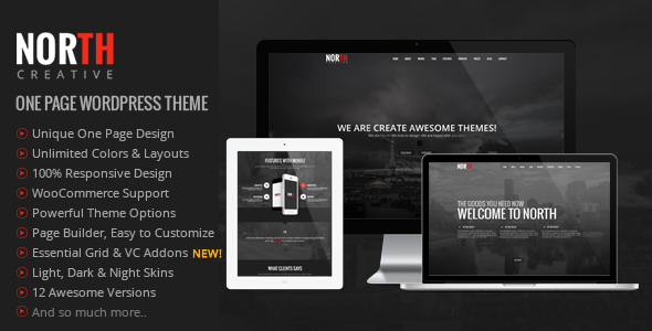 01 Preview.  large preview - North - One Page Parallax WordPress Theme