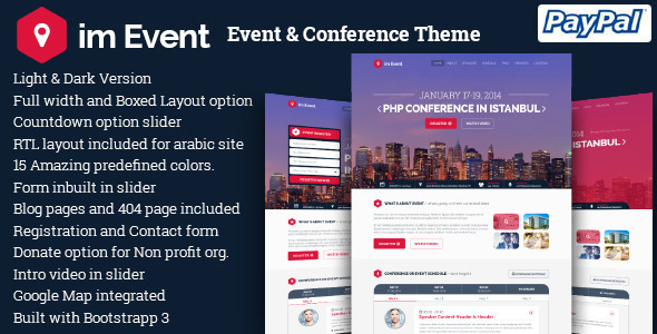 01 im event preview.  large preview - imEvent - Conference Meetup WordPress Theme