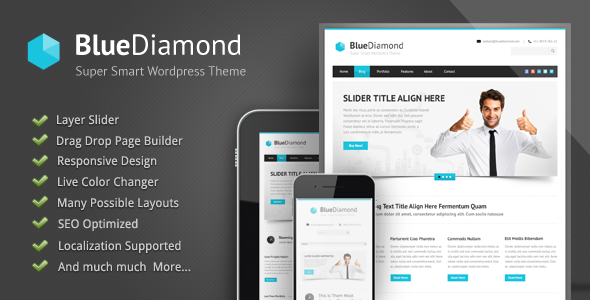 01 intro.  large preview - Blue Diamond - Responsive Corporate WP Theme